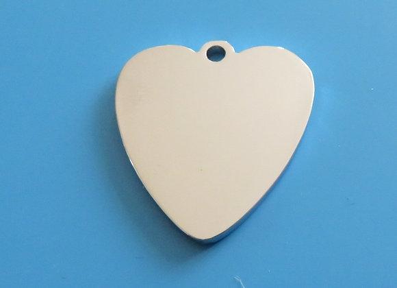Polished Chrome Heart Dog Tag