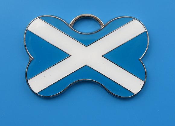 Scottish Flag Dog Tag - Bone Shape