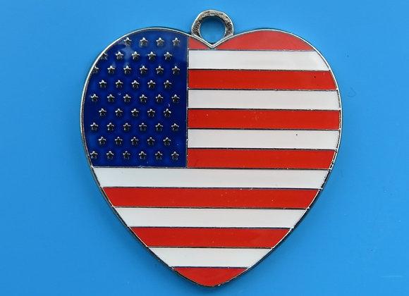 Heart USA Flag Dog Tag