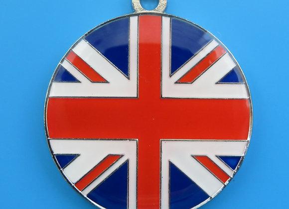 Round Union Jack Flag Dog Tag