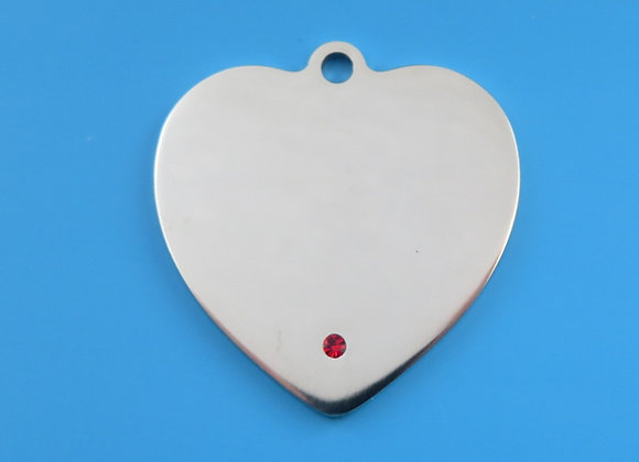 Heart Shaped Dog Tag With Crystal