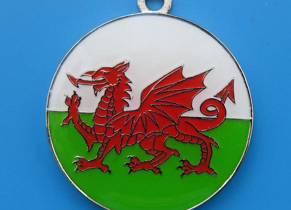 Round Welsh Flag Dog Tag