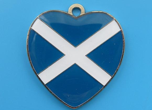 Heart Scottish Flag Dog Tag