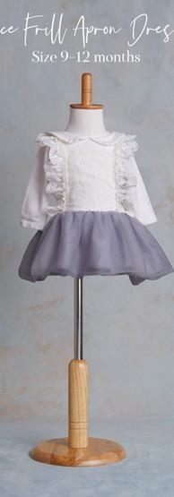Size 9-12 months Lace Frill Apron Dress.