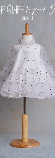 Size 3 White Glitter Layered Spanish Sty
