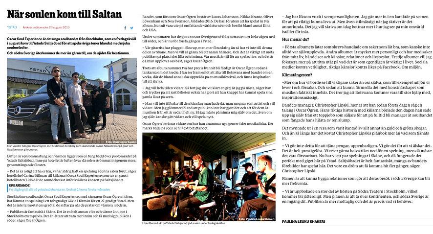 Artikel ur Ystad Allehanda om Oscar Soul Experience historia och livespelningar i Ystad