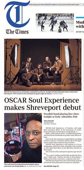 Article from The Times about Oscar Soul Experience making their Louisiana live show debut