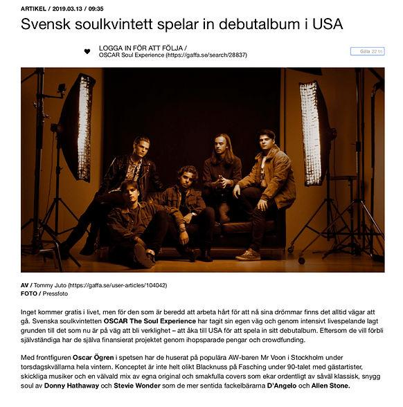 Artikel i Gaffa om att Oscar Soul Experience spelar in sitt debutalbum i USA