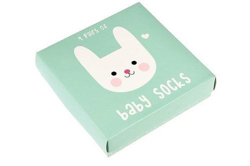 סט 4 גרבי תינוקות דוגמת ארנב