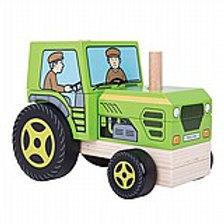 משחק הרכבה מעץ - מרכיבים טרקטור