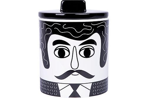 צנצנת אחסון מקרמיקה קרלוס שחור לבן | KITSCH KITCHEN
