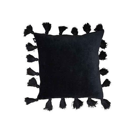 כרית פונפונים שחור