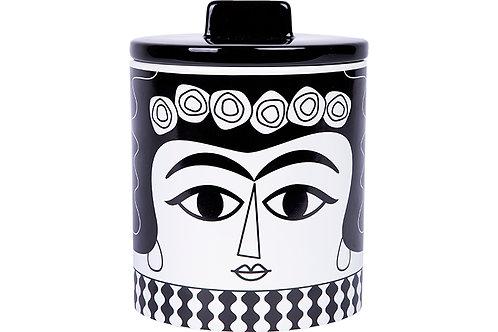 צנצנת אחסון מקרמיקה מריסול שחור לבן | KITSCH KITCHEN