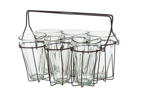 מארז כוסות זכוכית ומעמד