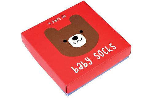 סט 4 גרבי תינוקות דוגמת דובי