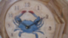 handcarved blue crab wall clock closeup