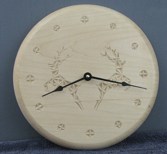 Chip Carved Stag Clock
