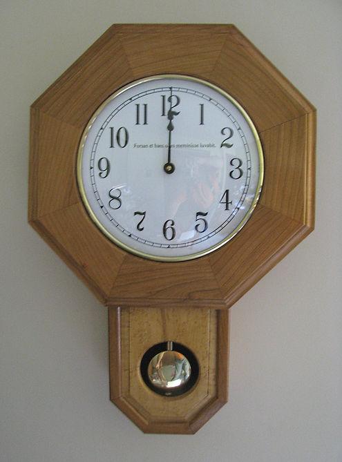 """inscribed schoolhouse clock - """"Forsan et haec olim meminisse iuvabit"""""""