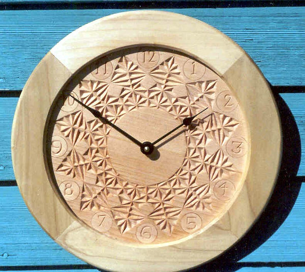 basswood and poplar chip carved clock