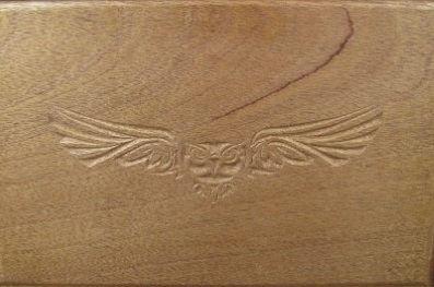 walnut shrine box-owl closeup