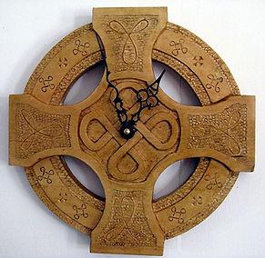 handcarved celtic clock