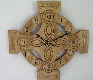 chip carved celtic cross clock