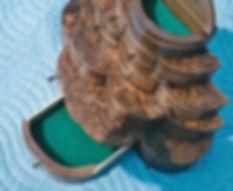 multi-level walnut jewelry box detail