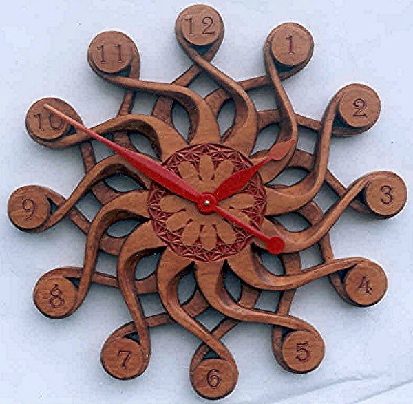 handcarved solaris wall clock