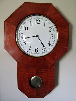 stained tiger maple schoolhouse clock