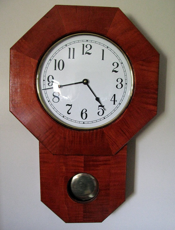 cherry-stained tiger maple schoolhouse clock