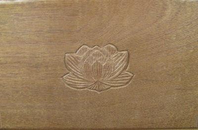walnut shrine box-lotus closeup
