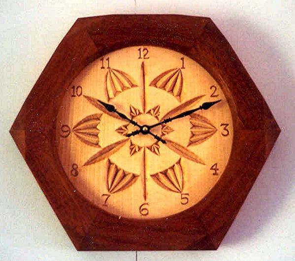 basswood & jatoba chip carved clock