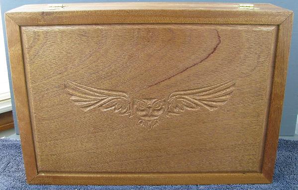 mahogany shrine box-owl