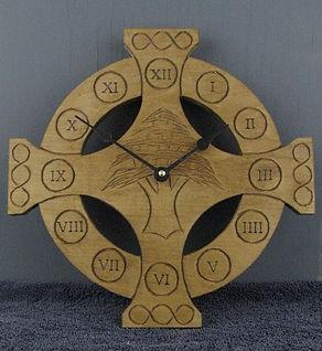 celtic cross cedar of lebanon clock