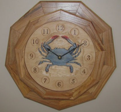 handcarved blue crab wall clock