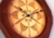 basswood & jatoba chip carved clock closeup