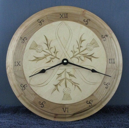 carved Scottish wall clock