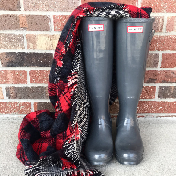 Hunter Boots & Plaid Scarves