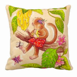 Monkey and Dragonfly pillow