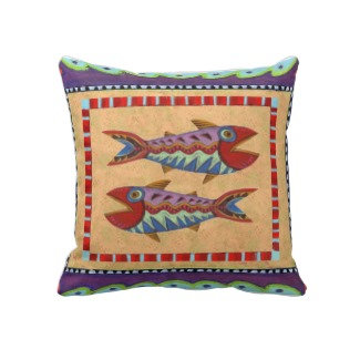Folk Art Fish Pillow