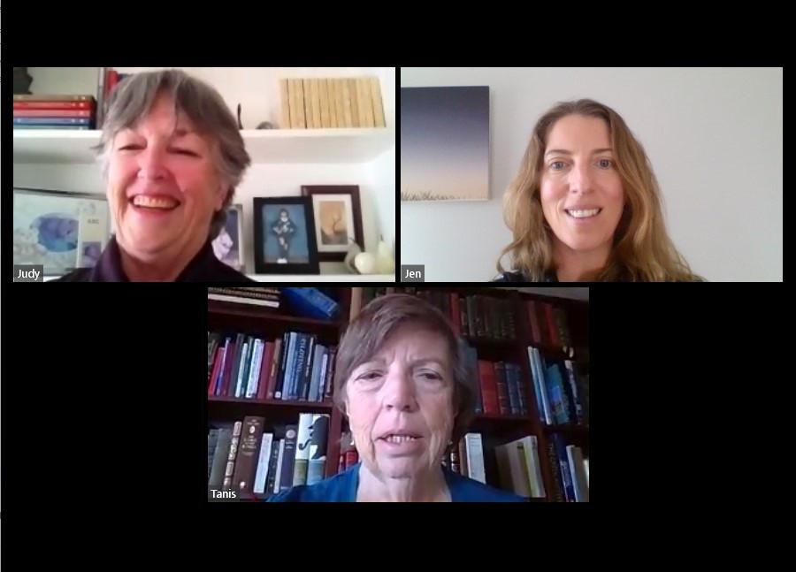 Screenshot of three women on a video call