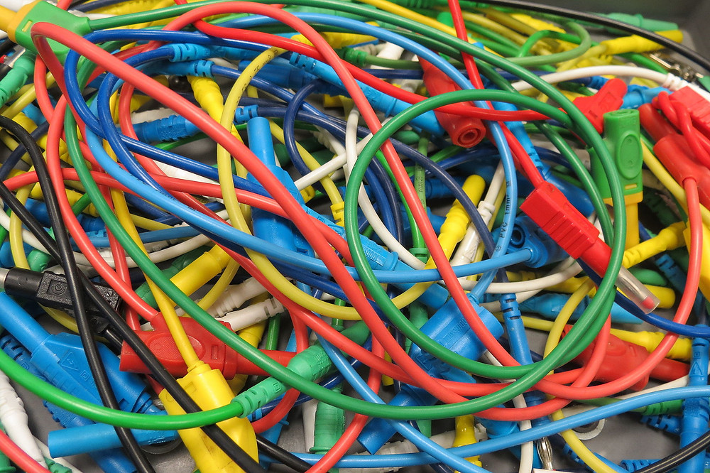 Photograph of colourful tangle of wires