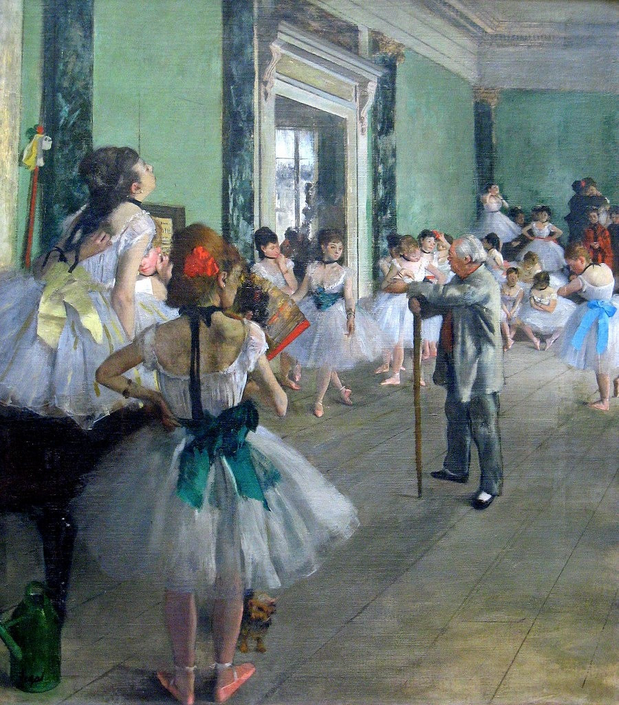 Degas' oil painting of ballerinas in a dance class
