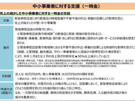 緊急事態宣言の再発令に伴う支援措置情報