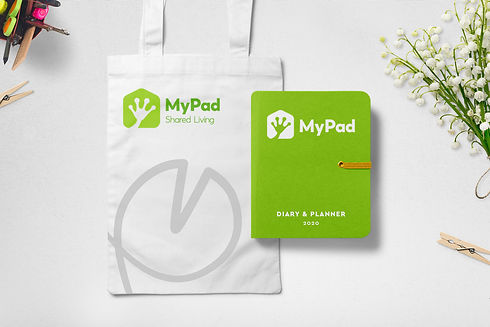 My Pad branded tote bag and notepad