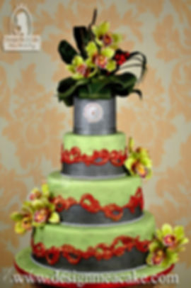 Cake with swags, lace, bows and gumpaste flowers