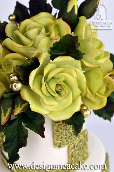 Green gumpaste roses.
