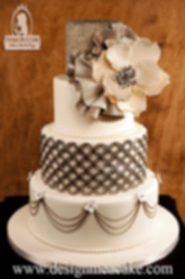 Magnolia grey and white cake