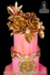 Gumpaste roses in gold