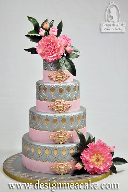 Silver and Gold Peony cake